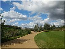 TQ3785 : Paths by River Lea by Paul Gillett