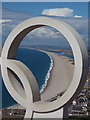 SY6576 : Chesil Beach: view through an Olympic ring by Chris Downer