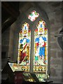 NU2229 : Stained glass window on south side of Church of St Ebba, Beadnell (1) by Graham Robson