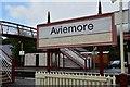 NH8912 : Station sign, Strathspey Railway Aviemore by Jim Barton