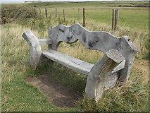 SH3368 : Aberffraw: bench at Port Cwyfan by Chris Downer
