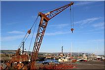 NS2975 : Derelict Crane, James Watt Dock, Greenock by Leslie Barrie