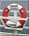 NJ4365 : A Buckie Harbour lifebelt by Walter Baxter