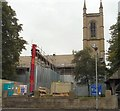 SJ9494 : Roof repairs at St George's Church by Gerald England