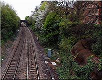 SO7845 : Railway north of Great Malvern station by Jaggery