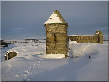 NZ0490 : Codger Fort (folly) in the snow by Andrew Tryon