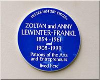 J3271 : Zoltan and Anny Lewinter-Frankl plaque, Belfast by Albert Bridge