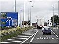 SP3982 : M6, Exit Sliproad at Junction 2 by David Dixon