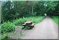 TQ4036 : Picnic table by the Forest Way by N Chadwick