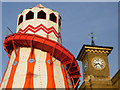 TQ3083 : Helter skelter and King's Cross clock tower by Stephen McKay