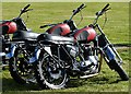 NT5578 : Triumph motorcycles belonging to the White Helmets Display Team by Walter Baxter
