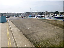 SY6778 : Weymouth, slipway by Mike Faherty
