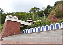 SX9265 : Cliff railway and beach huts, Oddicombe beach, Babbacombe by Derek Voller