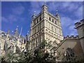 SX9292 : The south tower of Exeter Cathedral by David Smith