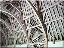 ST8260 : Part of the roof structure, Barton Tithe Barn by Humphrey Bolton