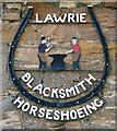 NT5930 : A blacksmith sign at St Boswells by Walter Baxter