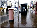 H4572 : Post box and open telephone booth, Omagh by Kenneth  Allen