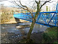 SS7791 : Side view of a blue footbridge over the Afon Afan in Cwmavon by Jaggery
