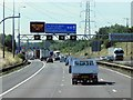 SP1984 : Signal Gantry, Southbound M42 Approaching Junction 6 by David Dixon