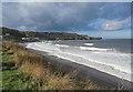 NZ8612 : Dark clouds gathering over Sandsend by Pauline E