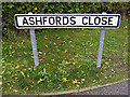 TM3763 : Ashfords Close sign by Adrian Cable
