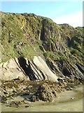 SM8513 : Folded rock strata at The Settlands by Gordon Hatton