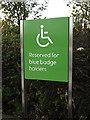 TM3863 : Disabled parking sign at Waitrose Supermarket car park by Adrian Cable