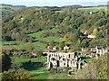 SE5784 : Rievaulx Abbey and Rievaulx, from Rievaulx Terrace by Christine Johnstone