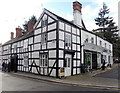 SO4593 : Black and white corner of High Street and The Square, Church Stretton by Jaggery