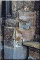 TF6119 : Flood Markers, King's Lynn Minster, King's Lynn, Norfolk by Christine Matthews