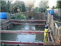 SP2763 : Fisher's Brook flood alleviation, temporary bank restraint by Robin Stott