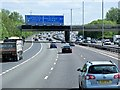 TQ0479 : Anti-Clockwise M25, Sign Gantry and Thorney Mill Road Bridge by David Dixon