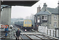 SE3457 : Knaresborough: strange signalbox and early DMU, 1976 by Ben Brooksbank