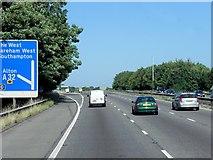 SU5707 : M27, Exit at North Hill by David Dixon