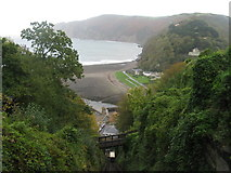 SS7249 : Lynmouth Bay from the Cliff Railway by M J Richardson