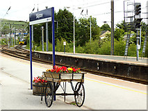 SD9851 : Flower barrow on Skipton station by Stephen Craven