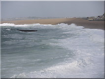 SY6873 : Chesil cove battered by storms by sue hogben