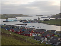 HU4039 : Scalloway: view over the town and harbour by Chris Downer