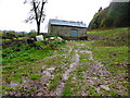 SO2910 : Old stone barn in the field above Llanellen by Jeremy Bolwell