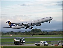 SJ8184 : Lufthansa Airbus A340, Airborne at Manchester by David Dixon
