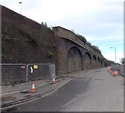 SS6593 : Morfa Road side of a railway viaduct, Swansea by Jaggery