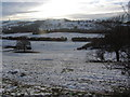 SJ9370 : Winter view SW from below Ridge Hall Farm towards Croker Hill by Colin Park