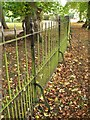 SP8659 : Wrought-iron bar fence, Castle Ashby Gardens by Robin Stott