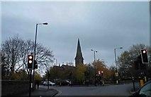 SJ9297 : Traffic lights on Stockport Road, Audenshaw by Steve  Fareham