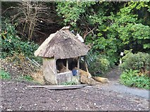 SX4268 : Thatching a summer house in Cotehele gardens by David Smith