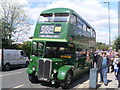 TQ1471 : A green RT bus outside Fulwell Bus Depot by David Hillas