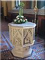 NZ2463 : St. Mary's Cathedral, Clayton Street West, NE1 - font by Mike Quinn