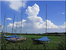 TG3504 : Shower clouds building up E of Beauchamp Arms PH, Claxton by Colin Park