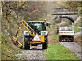SJ9594 : Hedge cutting on the Trans Pennine Trail by Gerald England