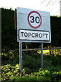 TM2692 : Topcroft Village Name sign by Adrian Cable